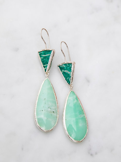Earrings with amazonite and chrysoprase // silver 925