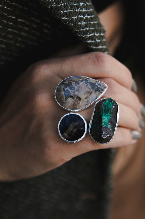 Ring with moonstone, rock crystal and fluorite // silver 925