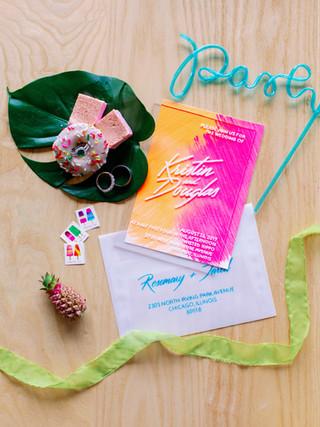 Acrylic Hand-Lettered Wedding Invitation