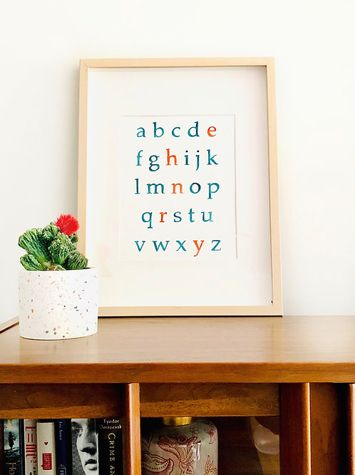 Custom Watercolor Alphabet Art