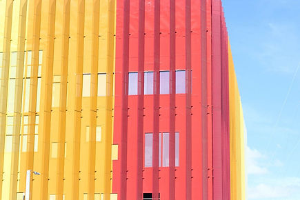 Yellow and Red Glass Building