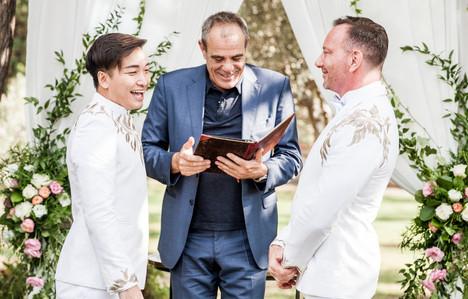 reading wedding vows. Sitges wedding