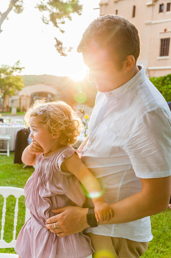 Sitges. Baby and dad at wedding