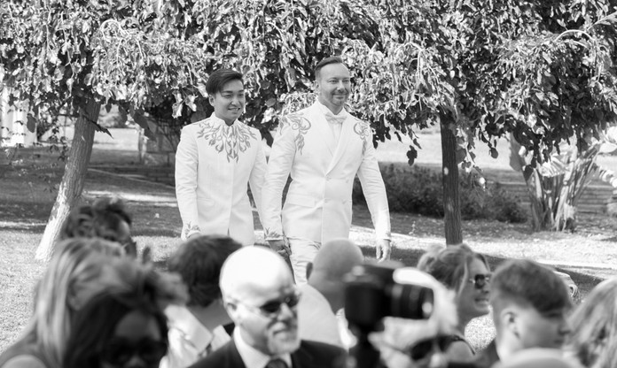 B&W walking up the aisle. Sitges