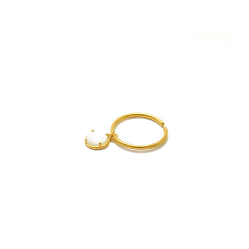 Drop Ring - White Circle Mother of Pearl