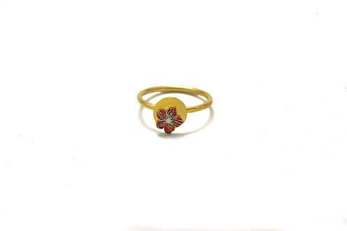 Red Small Gold Plated Flower Ring