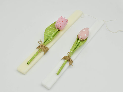Easter candle with handmade fabric tulip _ Rectangle Candle