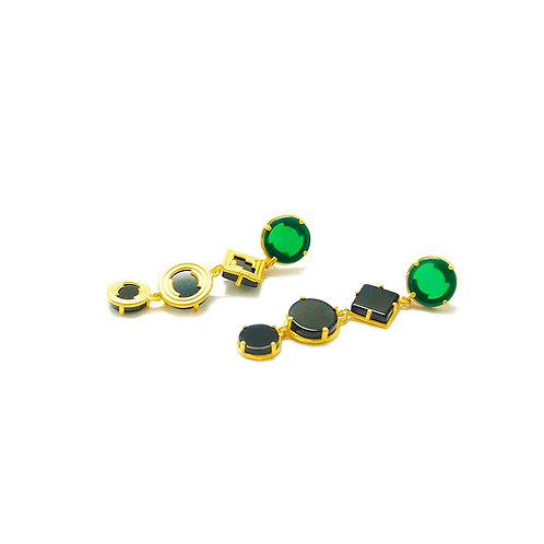 Dangle Earrings with geometrical black & green agates