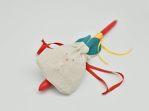 Easter candle with handmade bunny drawstring pouch