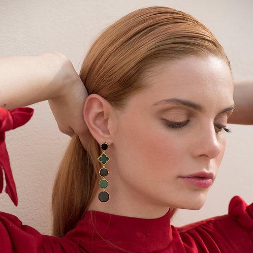 Dangle Earrings with five geometrical black & green agates