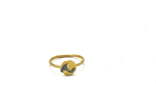 Gold Plated Blue Poppy Ring