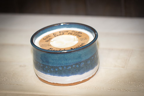 Soy Wax Candle in blue pottery - Frosted Juniper Scent