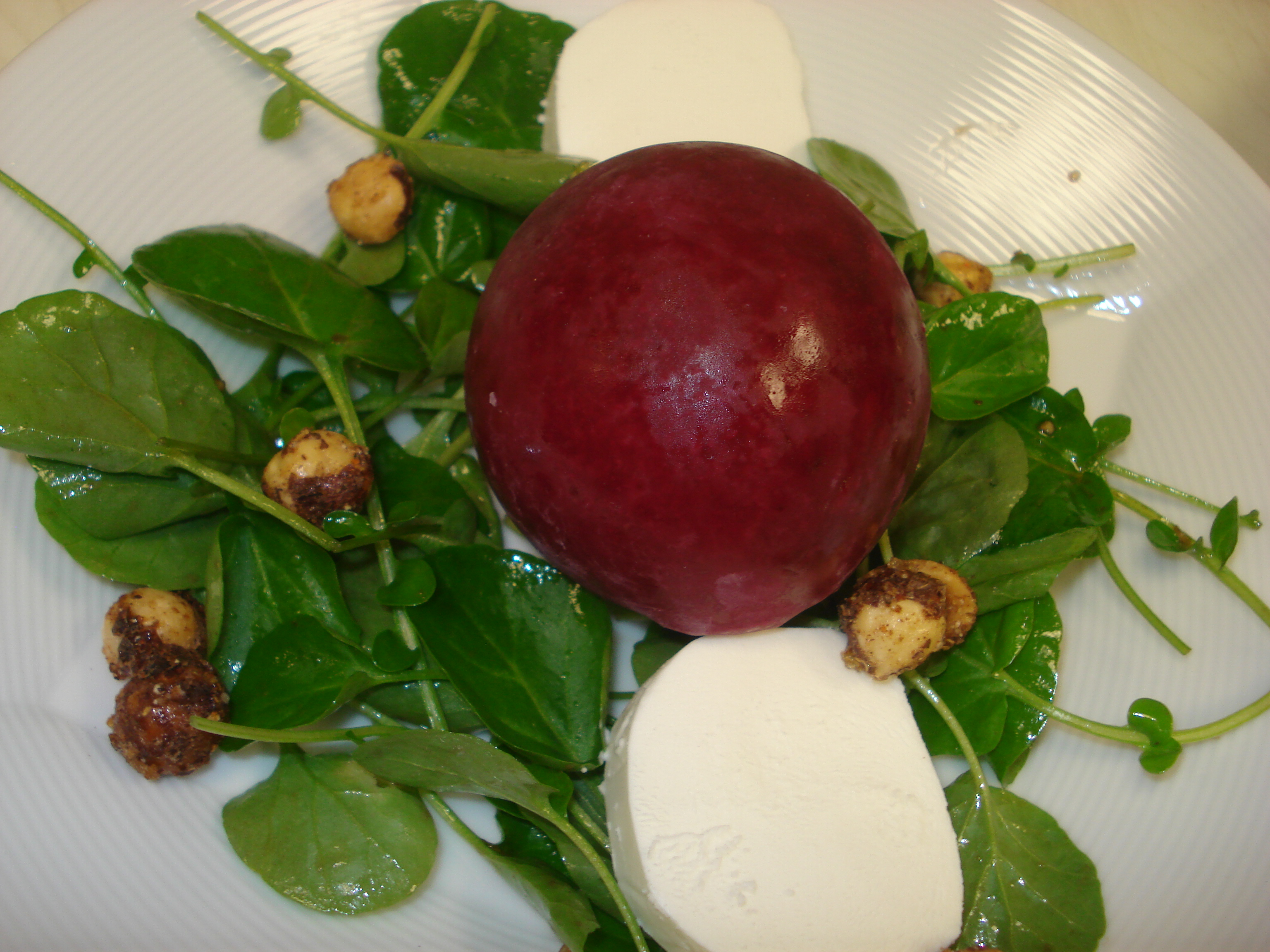 Frozen Beet Orb & Watercress Salad