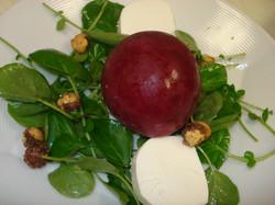 Frozen Beet Orb & Watercress Salad