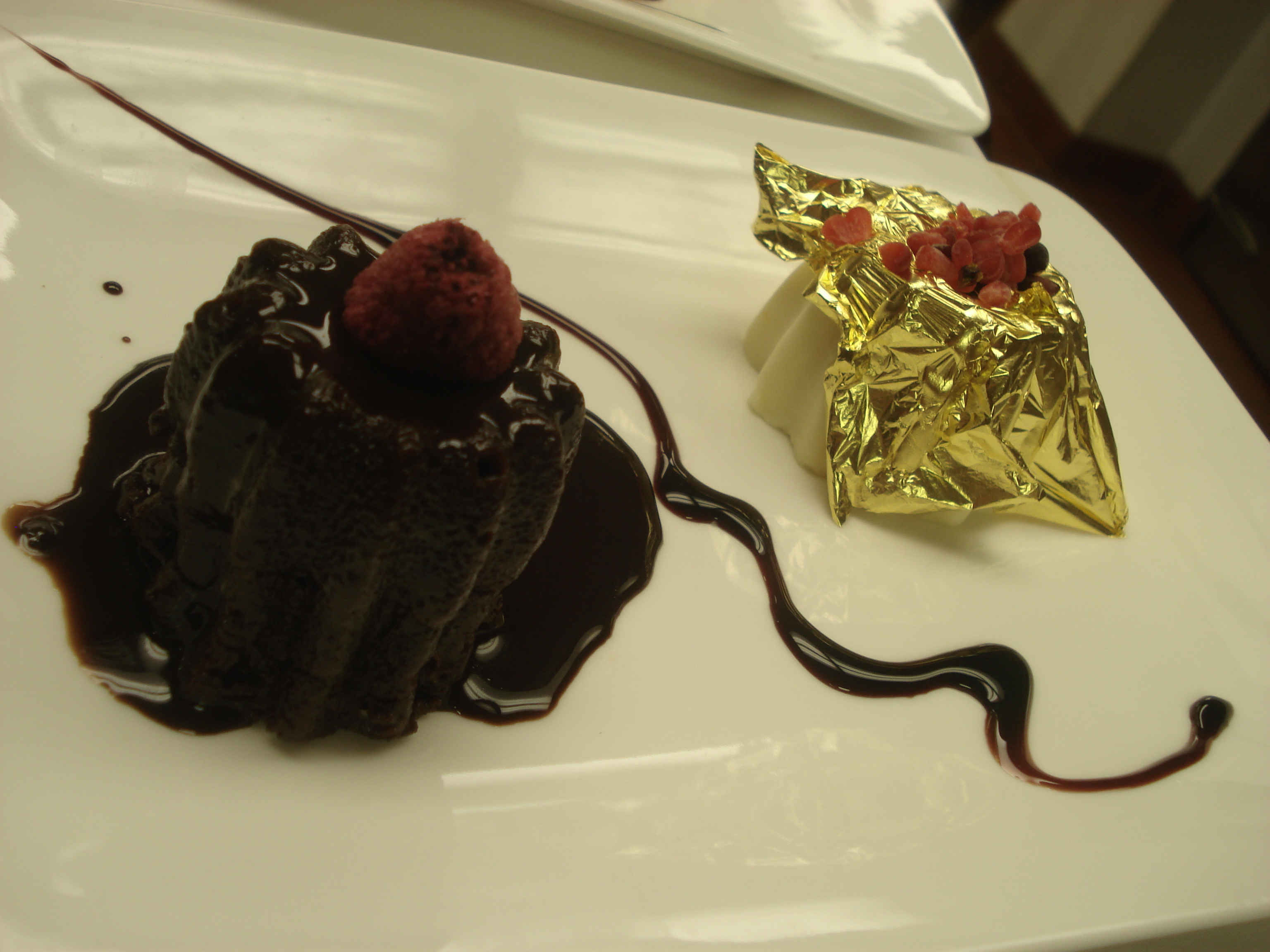 Chocolate Timbale with Passion Fruit