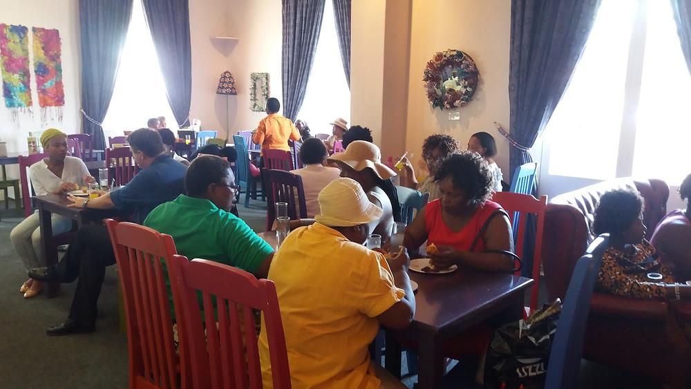 Enjoying refreshments at Cafe Tatham
