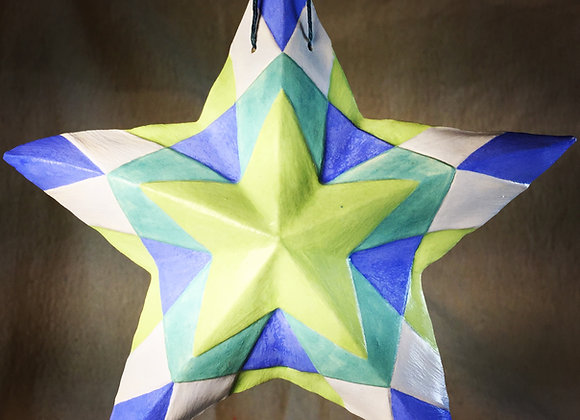 Stained Glass Star, Cool Blues
