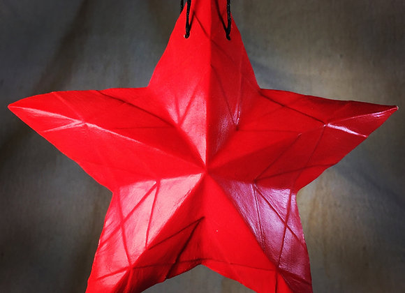 Stained Glass Star, Solid Red