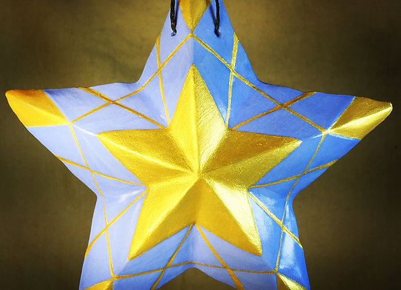 Stained Glass Star, Blue and Gold
