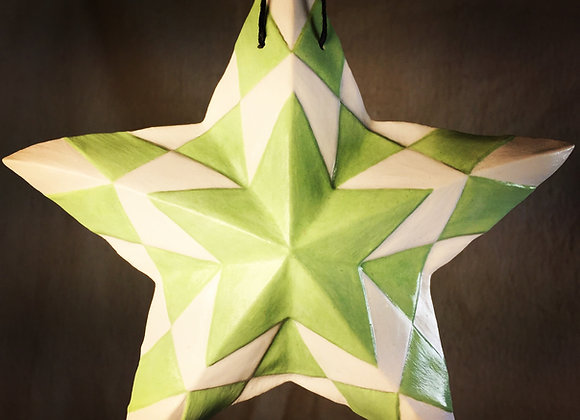 Checker Box Star, Green and White