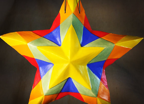 Stained Glass Star, Primary Yellow
