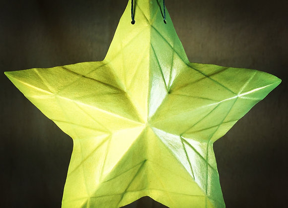 Stained Glass Star, Green and Gold