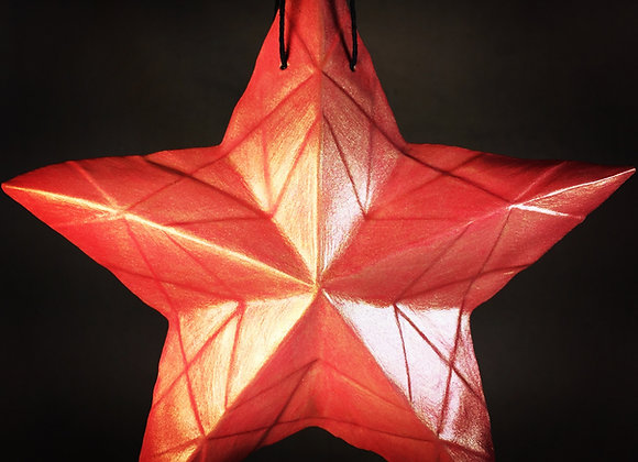 Stained Glass Star, Red and Gold