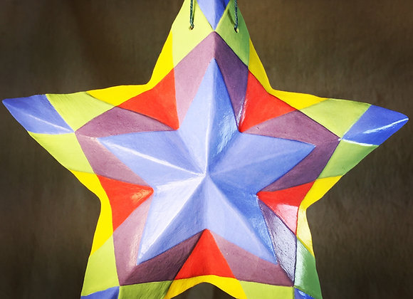 Stained Glass Star, Primary Blue