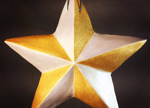One-Sided Star, White and Yellow Gold