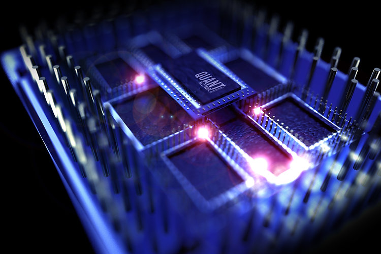 Quantum Processor Computer. 3D Rendered