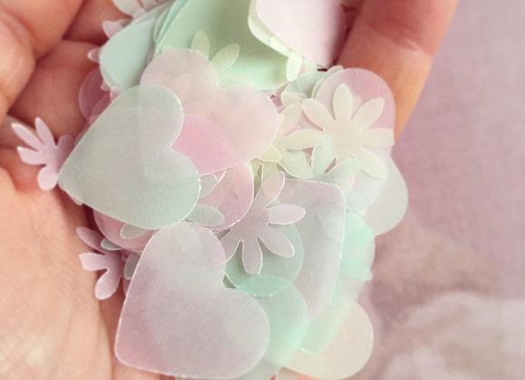 ハートとお花のペーパーシャワー 淡色MIX