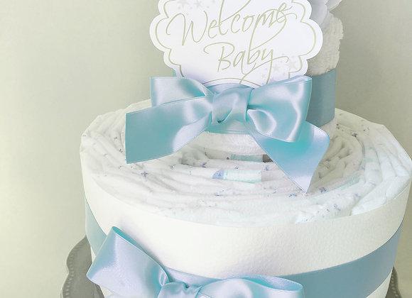 高品質なシンプルおむつケーキ blue