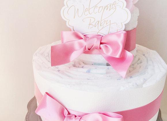 高品質なシンプルおむつケーキ pink