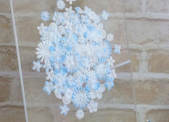 ウェルカムボード Clear×Flowers ブルー
