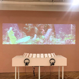 installation view of documented performance with salt samples from each coast