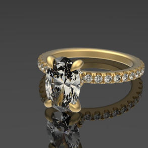 Oval & Micro-Prong Engagement Ring