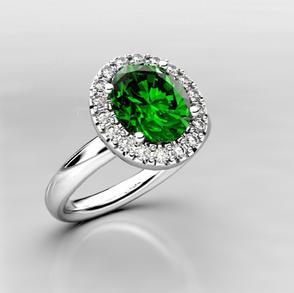 Tsavorite Garnet & Diamond Halo Ring
