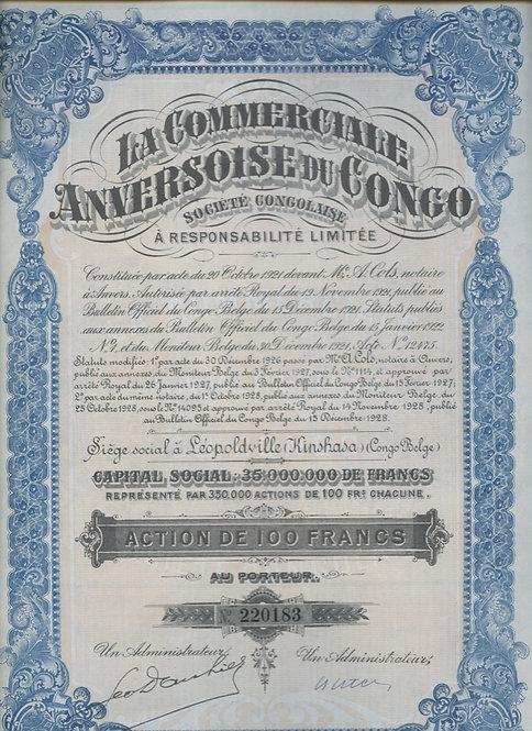 Акция 100 франков, 1928 г. Бельгийское конго.