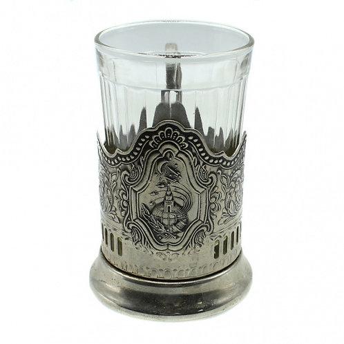 Подстаканник «Советский космос», с граненым стаканом, СССР.