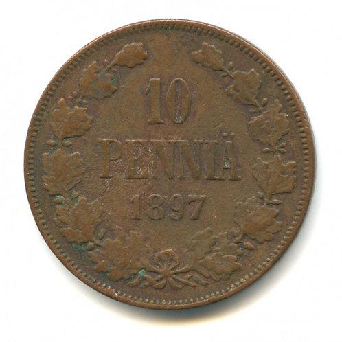 10 пенни 1897 г., для Финляндии, Николай II.