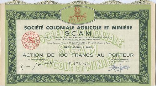 100 франков («Societe Coloniale Agricole et Miniere») Франция