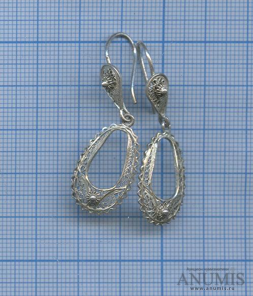 Серьги винтажные (без клейма), скань, тест - серебро, 3 гр.