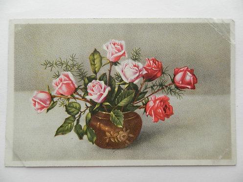 """Открытка """"розы в кашпо"""". Германия"""