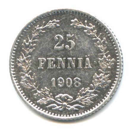25 пенни 1908 г., L, Русская Финляндия, Николай II.