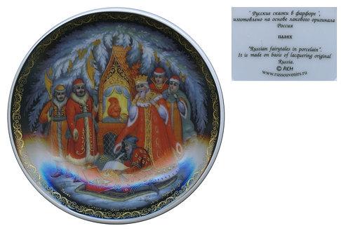 Тарелка с подставкой, Палех, фарфор.