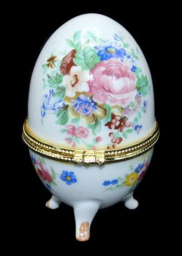 Шкатулка-яйцо «Цветы», 10,5 см.