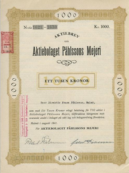 1000 крон («Aktiebolaget Pahlssons Mejeri») Швеция, 1941 г.