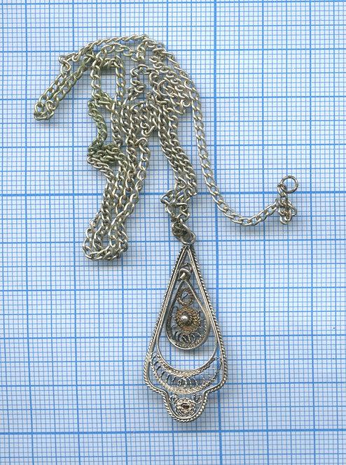 Кулон с цепочкой, скань (филигрань)
