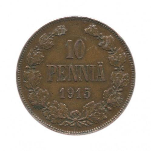 10 пенни 1915 г., Николай II, Россия для Финляндии