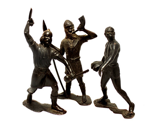 Солдатики ДЗИ, «Викинги», «Древние люди» (пластмасса, высота 14 см) СССР